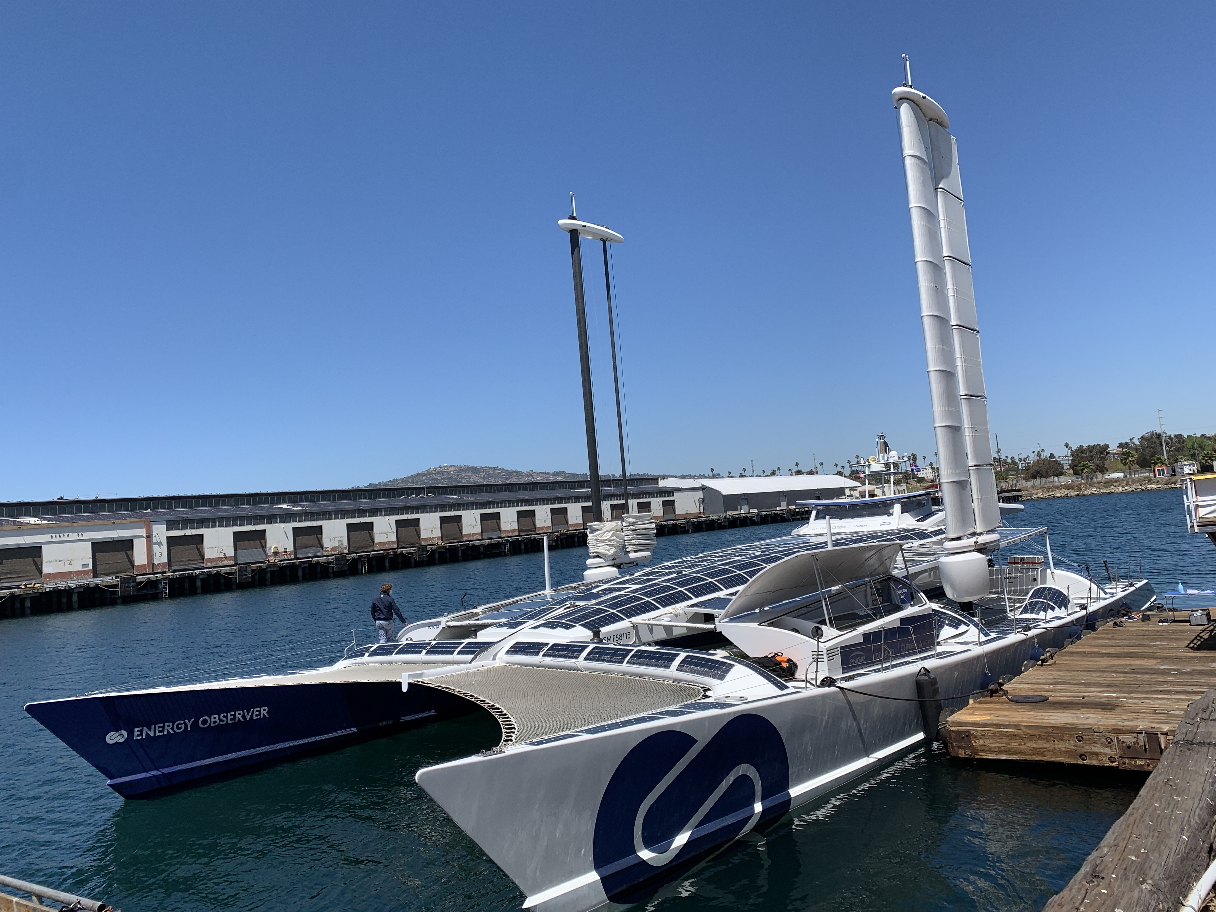 The Energy Observer, an energy autonomous fuel cell electric catamaran docks at AltaSea