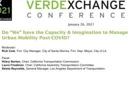 """VX2021 -URBAN MOBILITY- Do """"We"""" Have the Capacity & Imagination to Manage Urban Mobility Post-COVID?"""